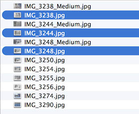 Some example files after resizing