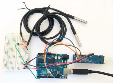 My Arduino with ENC28J60 and 2x DS18B20 - A wiring example