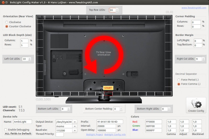 Boblight Config Maker for Linux (Ubuntu)