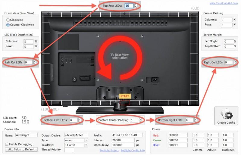 Boblight Config Maker - Enter the LEDs for each side of your TV
