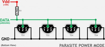 DS18B20 - Multiple sensors in Parasite power mode