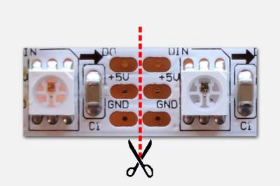 Cutting a LED strand