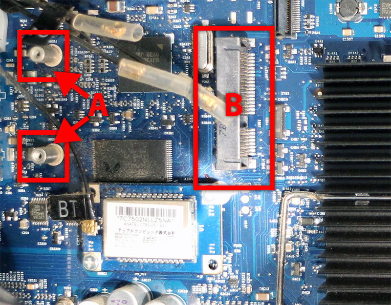 Mac Pro WiFi Slot (B) and Screw holes (A)