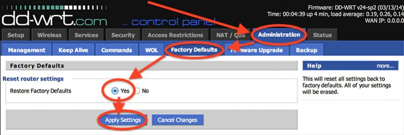 NetGear R7000 - DD-WRT Factory Defaults