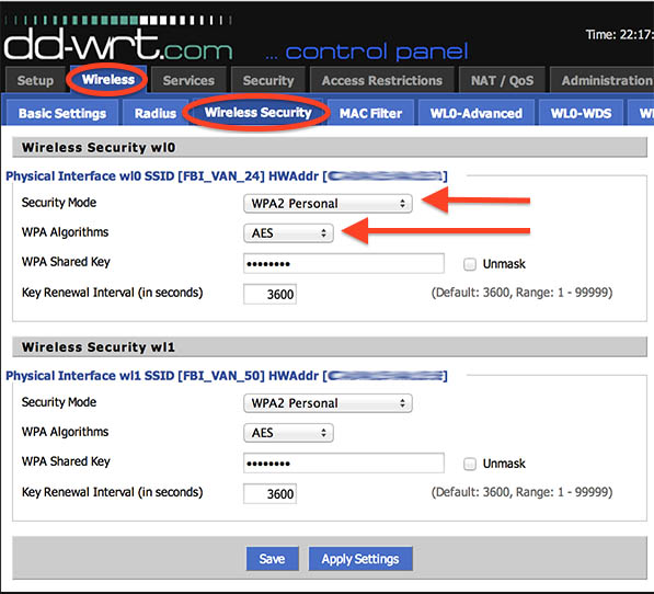 NetGear R7000 DD-WRT - Wi-Fi Security Settings