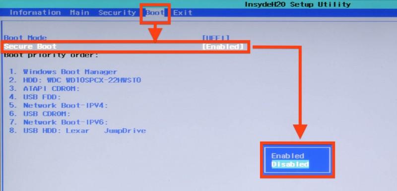 UEFI BIOS - Disable Secure Boot