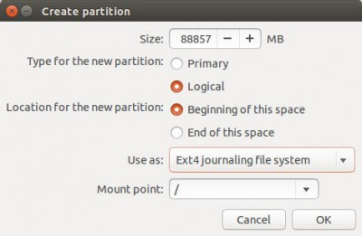 Ubuntu Setup - Root Partition