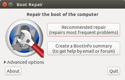 Boot Repair - Main Window