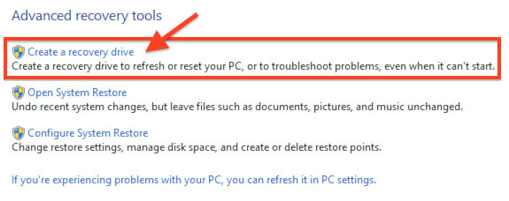 """Windows 8.1 - Recovery - Select """"Create a recovery drive"""""""