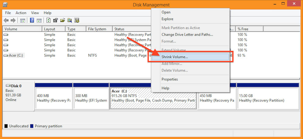 Windows 8.1 - Disk Management - Shrink Partition