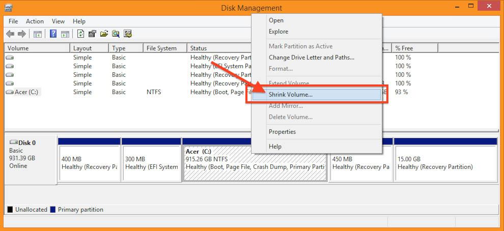Windows 8.1 - Disk Management - Shrink Partition