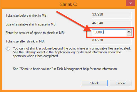 Windows 8.1 - Disk Management - Define Ubuntu Partition Size