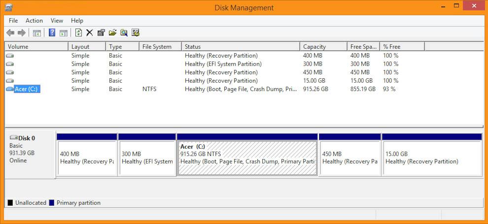 Windows 8.1 - Disk Management