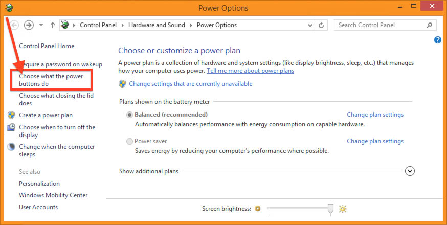 Windows 8.1 -Power Options