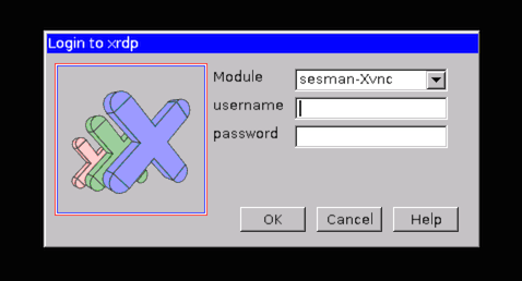 xRDP - Login screen