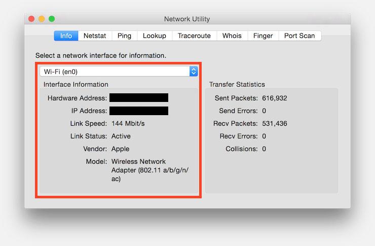 MacOS X - WiFi Speed through Network Utility