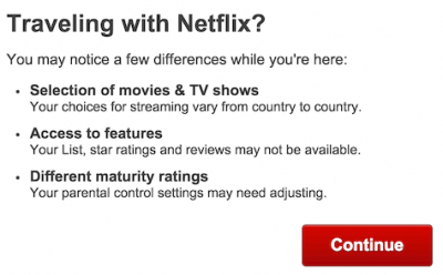 Netflix warning that content will be different