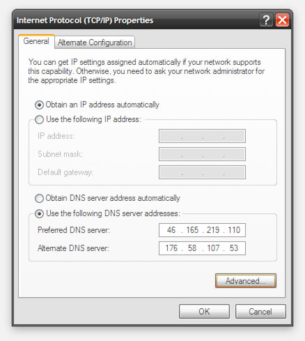 UnoTelly Windows XP - Add the DNS Servers