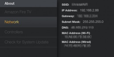 Amazon Fire TV - Finding the IP Address