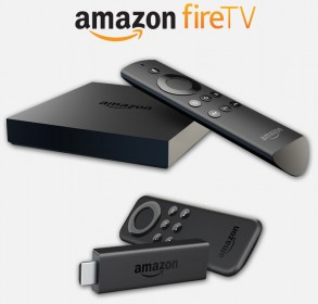 Amazon Fire TV - Regular (top) and Stick (bottom) editions