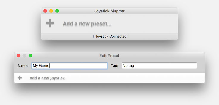 Joystick Mapper - Create a new Preset