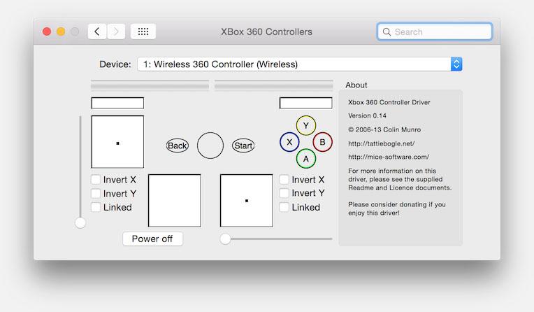 MacOS X - Xbox 360 Controller Preferences