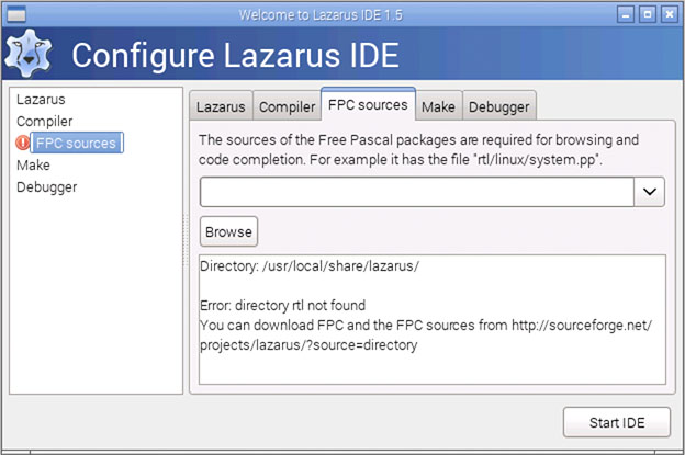 RaspBian - Lazarus can't find the FPC sources