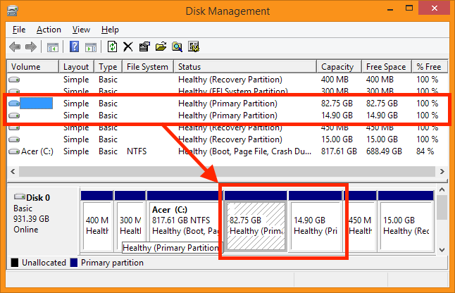 Disk Management - Locate your old Linux partitions