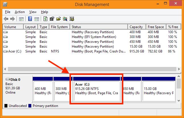 Disk Management - Newly resized Windows Volume