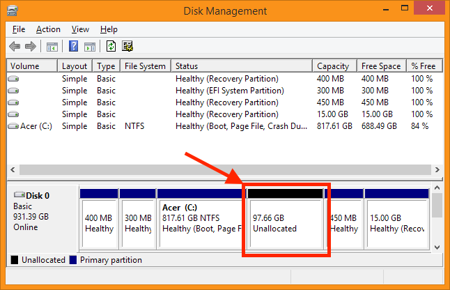 Disk Management - Unallocated disk space