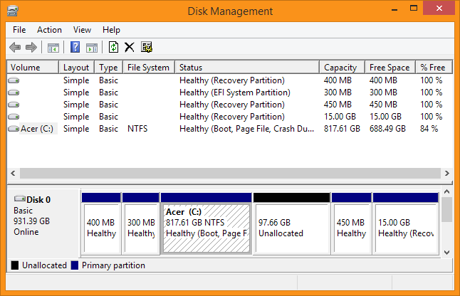 Disk Management - Right click your Windows Volume