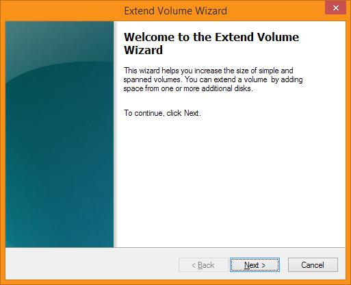 Disk Management - Extend Volume Wizard