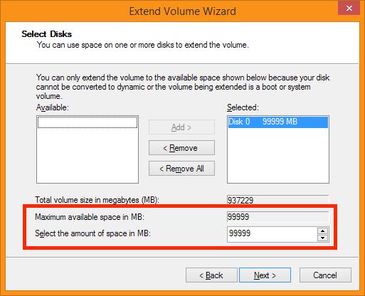 Disk Management - Maximize Volume