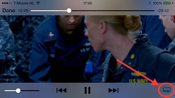 Videos - Tap the subtitles button