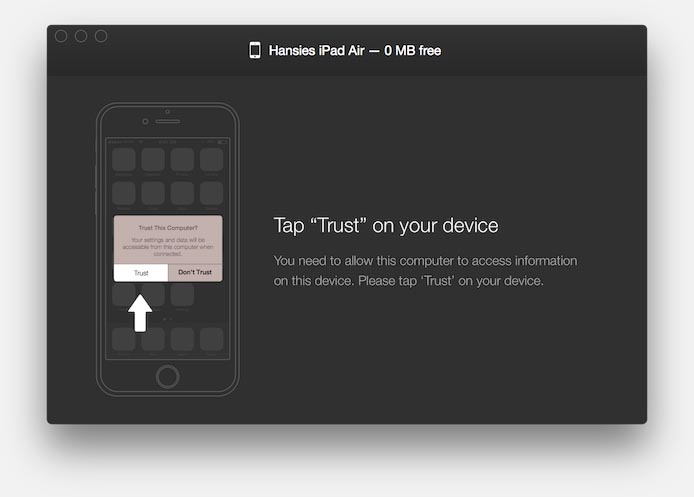 """WALTR - Click the """"Trust"""" button on your iOS device"""