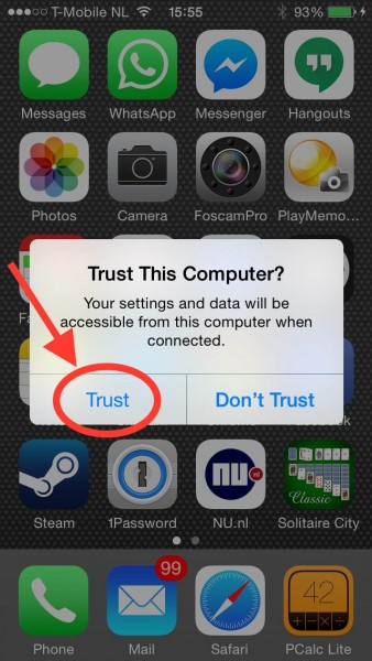 "Tap the ""Trust"" button on your iOS device"