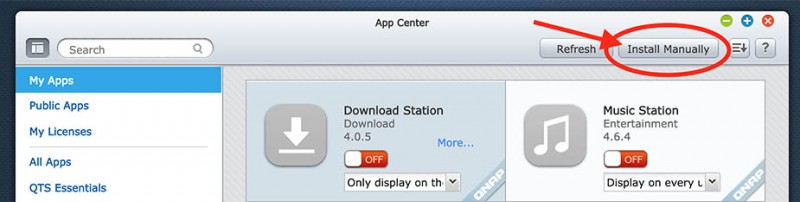 QNAP App Center - Install Manually
