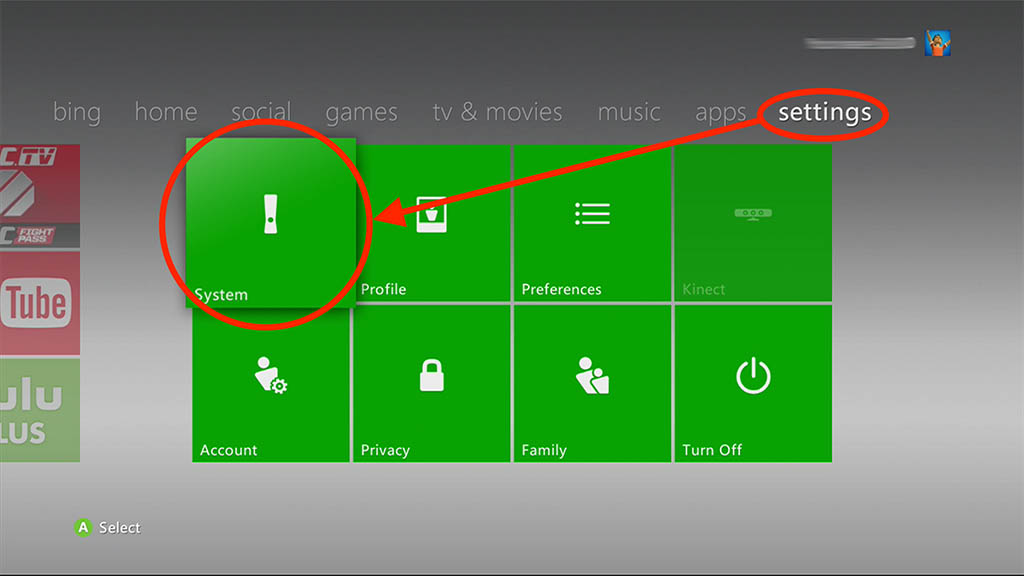 XBox 360 - Go to Settings -> System