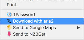"Select ""Download with Aria2"""