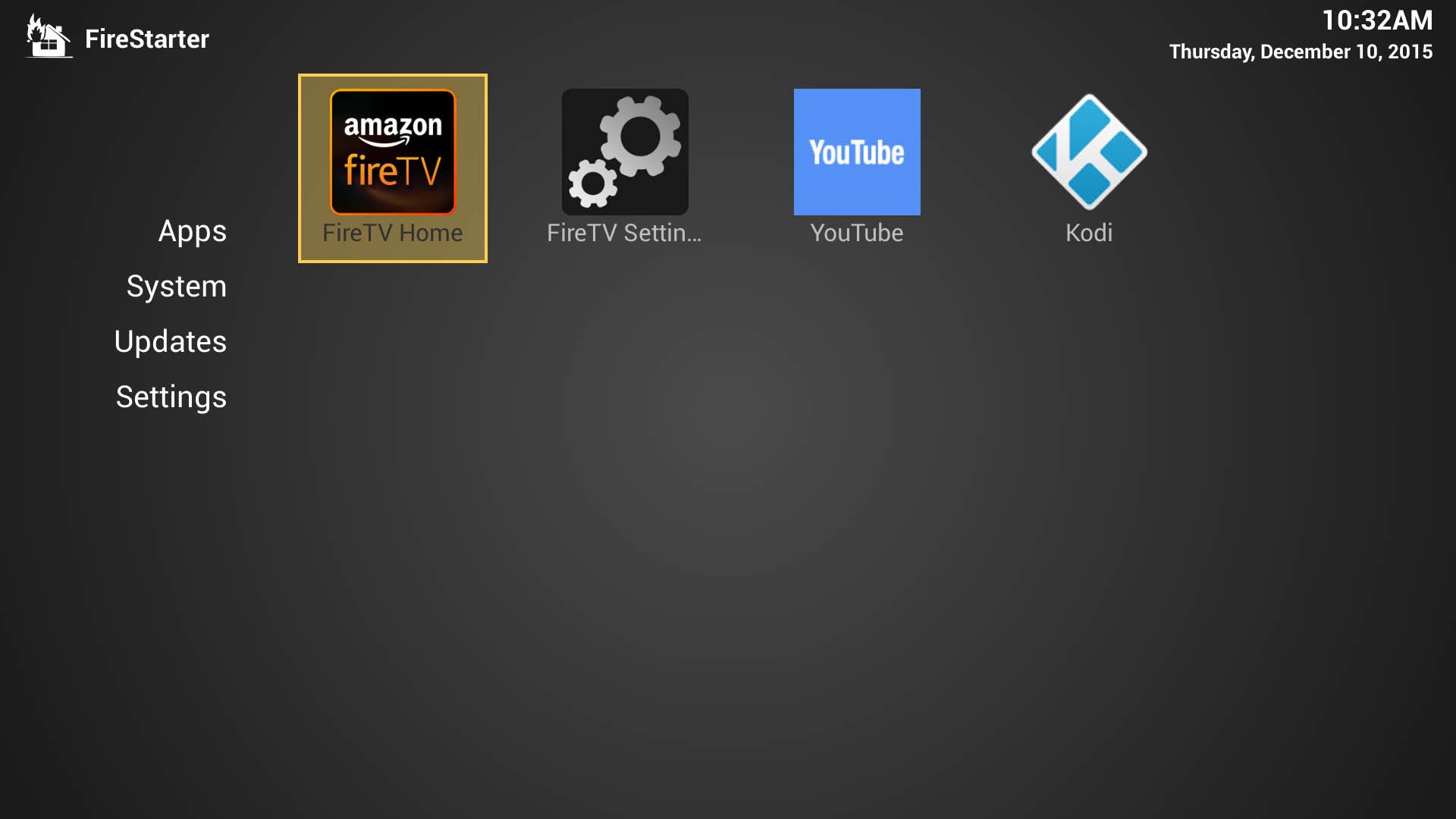 Firestarter  Home Screen