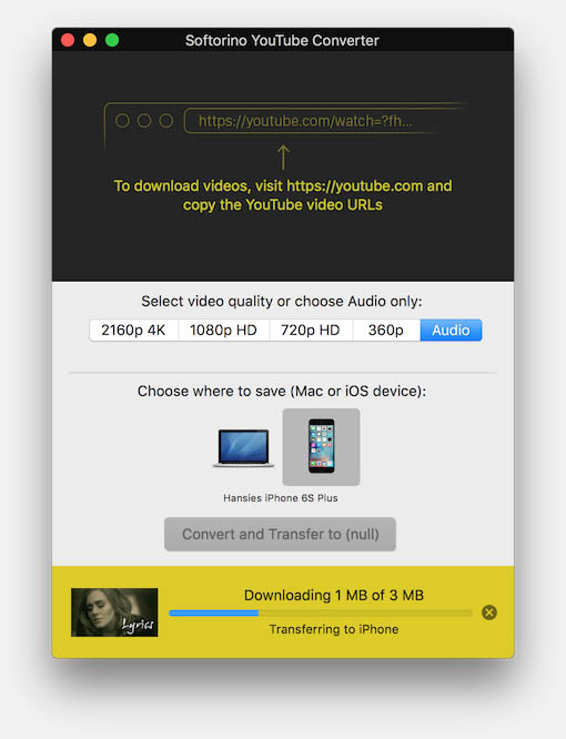 YouTube Converter - Convert and Transfer to iOS device