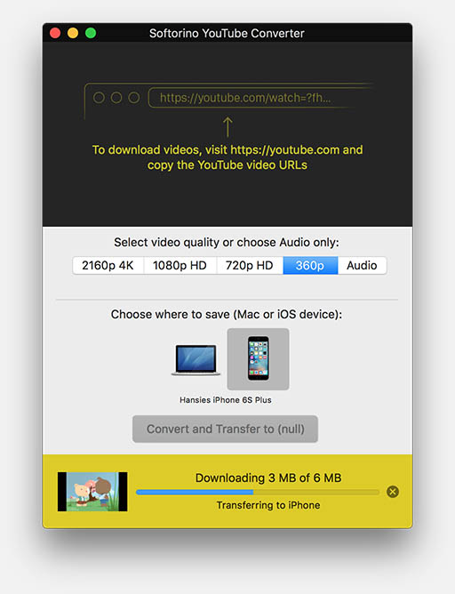 Youtube converter convert and transfer to ios device