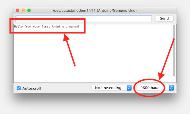 Arduino IDE output of your first C program