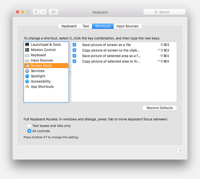 MacOS X - Default Screenshot Keyboard Shortcuts