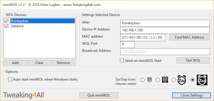 miniWOL Settings (Windows 10)