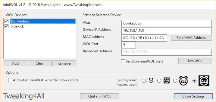 miniWOL Settings (Windows 10)