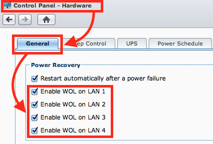 Synology NAS - Enable Wake On LAN