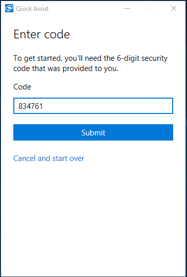 Quick Assist - Enter Security Code