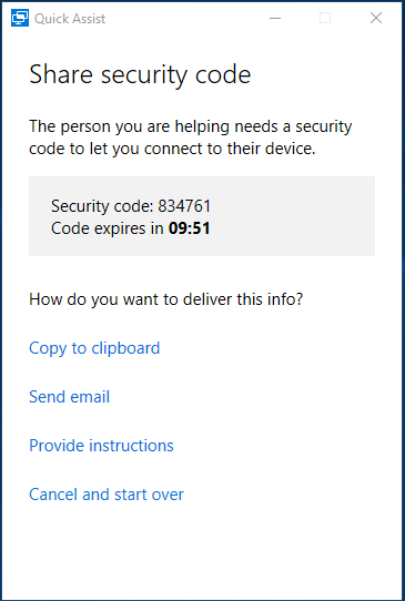 Quick Assist - Get the Security Code