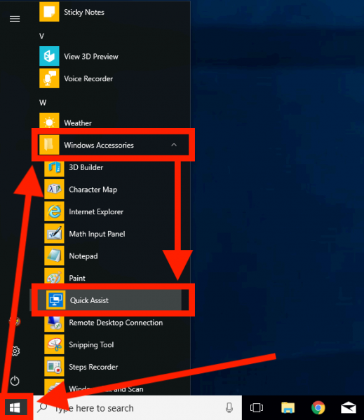 Start Quick Assist through the Start menu